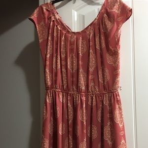 Tan dress. Above the knee. 3rd pic shows the back.